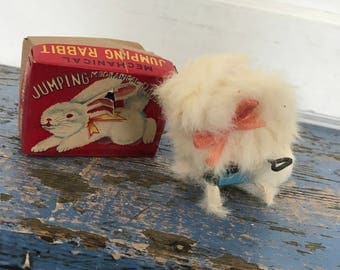 Vintage Tin Wind-Up Toy Rabbit Bunny, Original Box, New Old Stock NOS