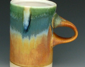 STONEWARE MUG #24 - Coffee Mug - Tea Mug - Ceramic Mug - Pottery Mug - Earthy Colors - Tall Mug - Gold and Green - Studio Pottery