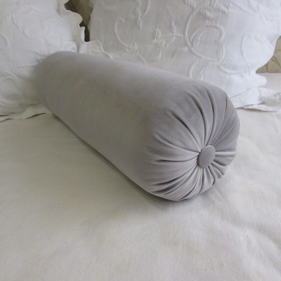 Decorative Bolster Pillow Black : SMOKE GRAY VELVET decorative Bolster Pillow 7-8x22