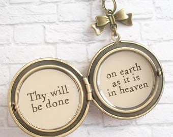 Thy Will Be Done Lord's Prayer Quote Locket Necklace Pastel Blue Chrysanthemum Floral Pendant Womens Christian Jewelry