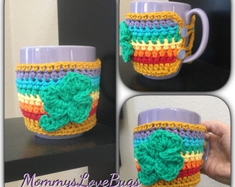 St Patrick's Day Shamrock Rainbow Cup Cozy