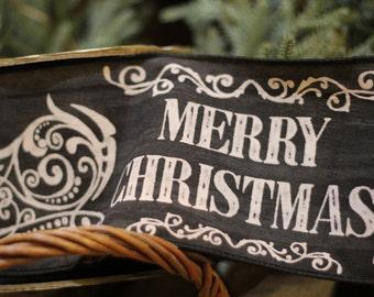 Mery Christmas Chalkboard Ribbon