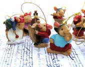 Christmas Miniature Mouse Band Ornaments, Christmas Decoration, Holiday Destash