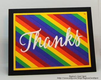 Rainbow Striped Thank You Card