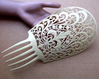 Oversized celluloid French Ivory Art Deco Spanish mantilla comb headdress headpiece decorative comb (AAC)