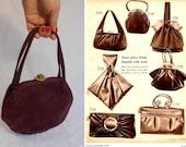 A Wedding I Recall - Vintage 1947 Burgundy Red Suede Pouch Handbag - Wedding Handbag
