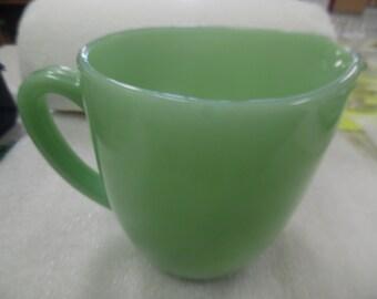 Vintage jadite pitcher, jadite milk pitcher,  fire king jadite