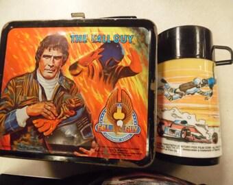 Fall Guy lunchbox, Fall Guy thermos, Commander Adama, Lee Majors, metal lunch box, Aladdin lunchbox,