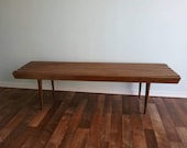 Vintage Mid Century Mod Slat Bench, Eames Era Coffe Table, Long Five Foot Walnut Yugoslavia