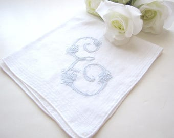 Monogram Handkerchief Initial E Letter Handkerchief Wedding Hankie Blue Embroidered from AllieEtCie