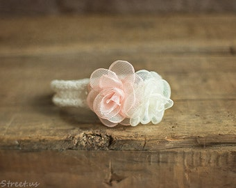 Baby Headband, Ivory, Blush Pink and Cream Headband, Newborn Headband, Baby Girl Photo Prop,Newborn Props, RTS, Baby Props, Organic Cotton