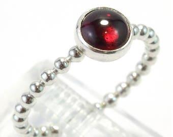 Garnet Gemstone Beaded Sterling Silver Stacking Ring