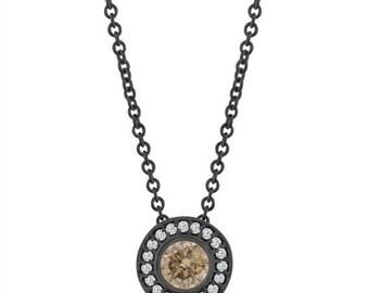 ON SALE Fancy Champagne Brown Diamond Pendant Necklace 14K Black Gold Vintage Style 0.45 Carat Halo Bezel And Micro Pave Set Handmade