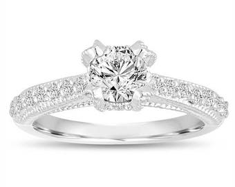 ON SALE 0.82 Carat GIA Diamond Engagement Ring, Wedding Ring 14K White Gold Vintage Style Unique Handmade Certified