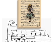 Alice in Wonderland Gallery Canvas - Alice Canvas Art - Alice on Antique Music Page Art Print - Alice Nursery Decor - Alice Canvas Art