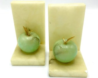 Vintage Alabaster Bookends with Green Marble Apples, Brass Leaves, Hand Carved in Italy