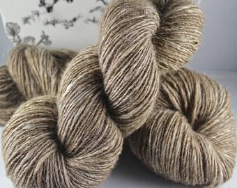 Handspun Yarn Gently Thick and Thin DK single  Natural Shetland, Suri Llama, Soy Silk, Silk and Sparkle 'Moonlight Sonata' 2 Skeins