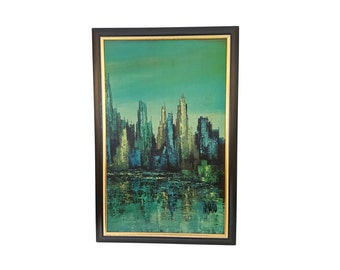 Mid-Century Modern Turner Print Maio Cityscape Scene in Blue and Green