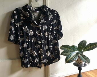 Black and white floral button up blouse S -L