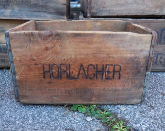 Vintage Wood Crate Horlacher Beer  Primitive Rustic storage box advertising Allentown PA