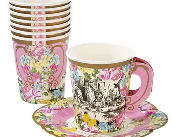 Alice in Wonderland Vintage Paper Cups and Saucers-pkg 12