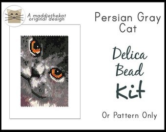 Persian Gray Cat Small Panel Peyote Seed Bead Pattern PDF or KIT DIY Animal Feline Pet
