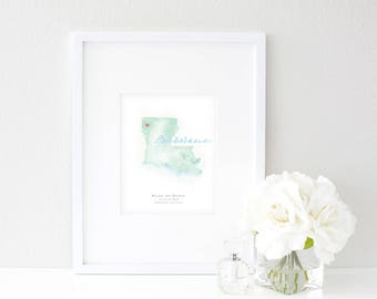 Louisiana Watercolor Map | Destination Map Print | Personalized Watercolor Map | Honeymoon Map | Anniversary Map | Watercolor Wedding Map