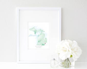 Michigan Watercolor Map | Destination Map Print | Personalized Watercolor Map | Honeymoon Map | Anniversary Map | Watercolor Wedding Map