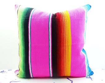 Decorative pillows, Pink pillow cover 18x18 Inch, Cushion Aztec, Mexican Ethnic, Throw Boho Chic Decor, couch cushions, pillow case handmade