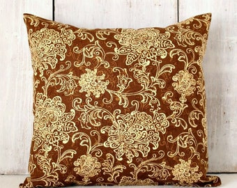 Brown Floral Pillow Cover - Brown and Tan Pillow - Chocolate Brown Damask Throw Pillow Cover
