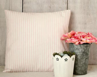 Pink Ticking Pillow Cover, Romantic Soft Pink Stripes, Pink Pillow, Girls Room, Farmhouse Cottage, Shabby Chic