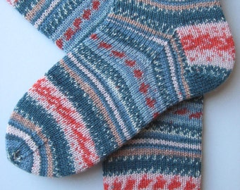 socks, hand knitted womens wool socks, UK 5-7 US 7-9, striped ladies socks, patterned socks, fairisle effect socks, handknit socks, unique