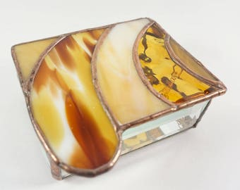 Amber, Rust, White and Copper Stained Glass Jewelry Box