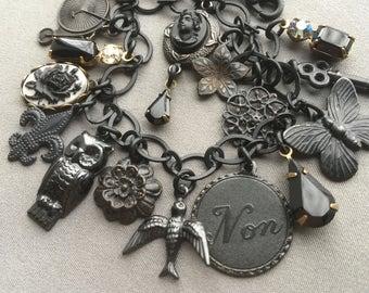 Gothic Charm Bracelet - Gothic Bracelet - Gothic Jewelry - Neo Victorian - Victorian Bracelet - Victorian Jewelry - Edwardian Jewelry
