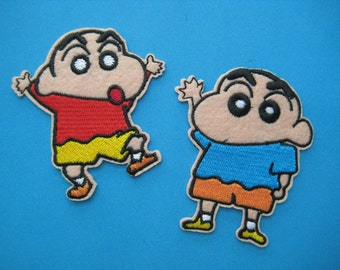 2 pcs Iron-on Embroidered Patch Crayon Shin-chan 3 inch