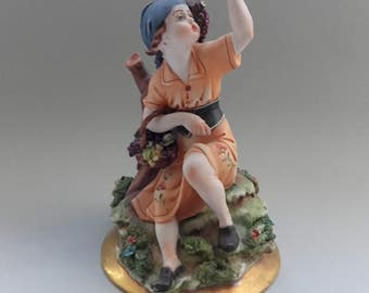 Porcelain Figurine Capodimonte Italy Vintage Girl With Basket of Grapes