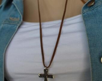 Suede Cross Sterling Silver Adjustable Necklace Boho