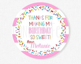 Sprinkle Party Favor Tags, Rainbow Sprinkles Tag, Birthday Party Gift Tag, Sprinkles Tag Personalized