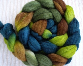 """Hand Dyed Sock Blend Combed Top 4 oz. """"Spruce Forest"""""""