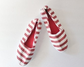 50% half off sale // Vintage Red and White Striped Slip On Flats - Women 6M - Early 90s, 2 Pairs Availables