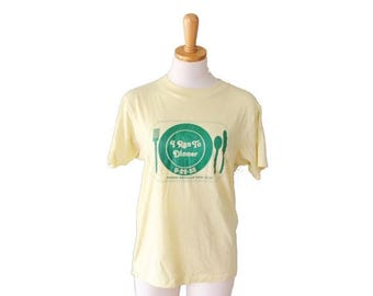 50% off sale // Vintage 80s I Ran to Dinner College Tee Shirt - Hanes Made in America - Women M Men S - Pale Yellow, Green