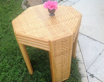 "RATTAN BAMBOO DINING TABLe Base Gabrielle Crespi Style / 28 3/4"" tall x 25"" wide / Rattan Bamboo Dining table / Rattan at Retro Daisy Girl"