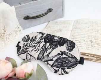Beige and Black Linen 'Grimoire' Botanical Sketch Natural Sleep Mask Handmade to Order