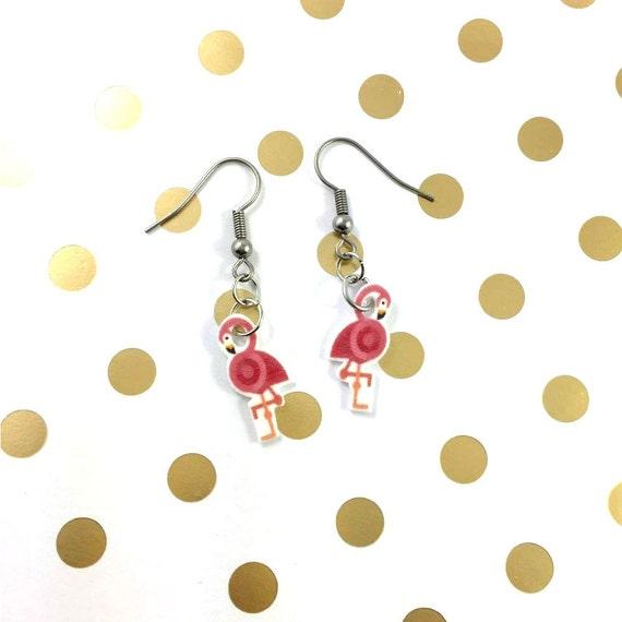 flamingo, pink, pendent, earring,  plastic, bird, stainless hook, handmade, les perles rares