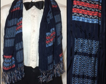Vintage 1940's men's all rayon ascot cravat Opera scarf 44x12 large abstract patterned fringe striped damask dark blue red white