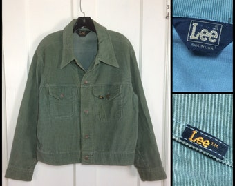 Vintage 1970's Lee Olive Green color corduroy Jacket 2 Pocket looks Size Large Faded distressed #1911