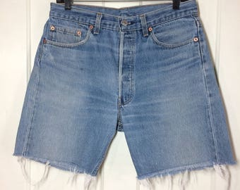Vintage 1980's faded Levi's 501 cut off Shorts measured size 31 inch waist Skate Punk Grunge hippie boho boyfriend blue jeans made in USA