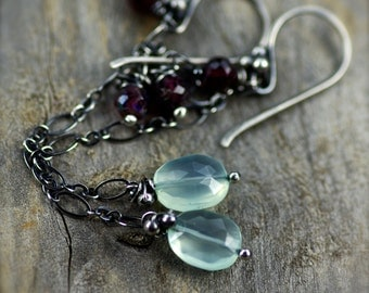 Chalcedony and Garnet Gemstone Earrings. Oxidized Sterling Silver Earrings. Long Gemstone Dangle.