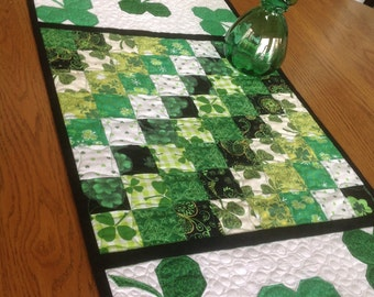 DISCOUNTED Sweet Shamrocks 16 x 30 St. Patrick's Day quilted table runner