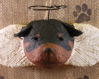 Rottweiler Angel Ornament, OOAK, hand-sculpted from papier mache,ROTTWEILER